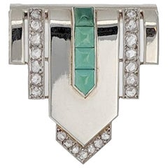 Art Deco Turquoise Diamond and White Gold Clip Brooch