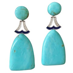 Art Deco Turquoise Diamonds White Gold Blue Enamel Flat Drop Earrings