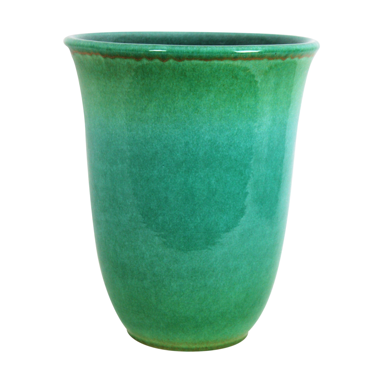 Art Deco Turquoise Glazed Ceramic Large Vase by Serra, Spain, 1930s