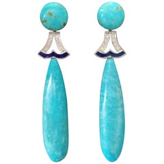 Art Deco Style Turquoise Gold Diamonds Blue Enamel Drops Earrings