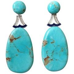 Art Deco Style Turquoise Gold Diamonds Blue Enamel Flat Drop Earrings