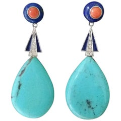 Art Deco Turquoise Lapis Lazuli Coral Gold Diamonds Blue Enamel Drops Earrings