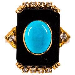 Art Deco Style Turquoise Onyx 0.18 Carat White Diamond Yellow Gold Cocktail Ring