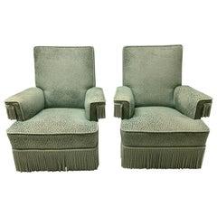 Art Deco Turquoise Velvet Upholstered Armchairs with Fringe