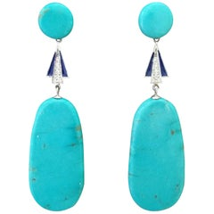 Art Deco Turquoise White Gold Diamonds Blue Enamel Flat Drop Earrings