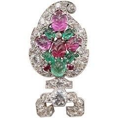 Cartier  Paris Art Deco Tutti Frutti Carved Leaf Platinum and Diamond Brooch