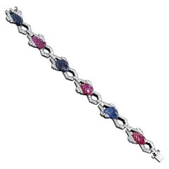 "Art Deco ""Tutti Frutti"" Carved Sapphire and Ruby and Round Diamond Bracelet"