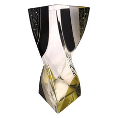Art Deco Twisted Glass Vase with Geometric Enamelling