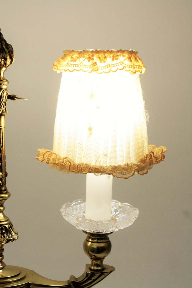 Art Deco Two-Arm Brass and Glass Table Lamp with Lace Shades on a Wooden Base For Sale 5