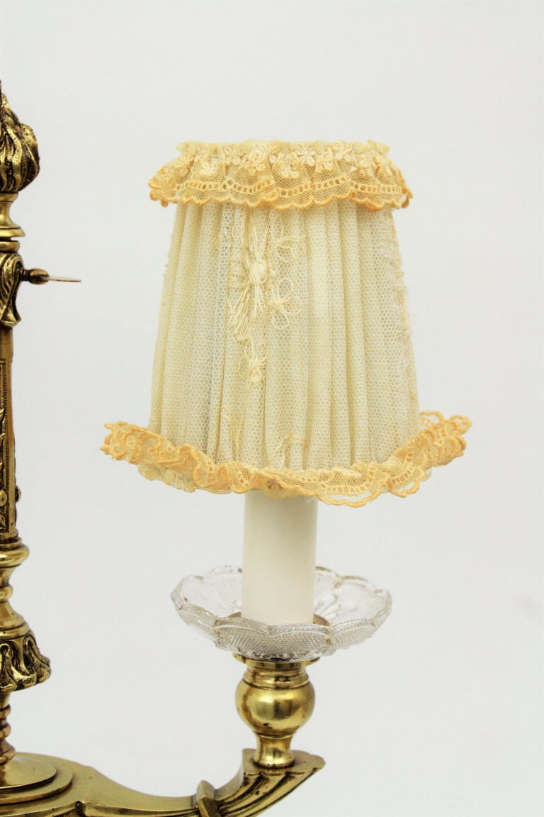 Art Deco Two-Arm Brass and Glass Table Lamp with Lace Shades on a Wooden Base For Sale 2