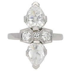 Art Deco Two-Stone Diamond Ring, French, 1925