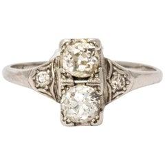 Art Deco Two-Stone Platinum Ring