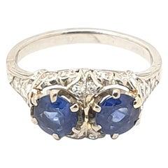 Art Deco Two-Stone Sapphire Diamond Platinum Ring