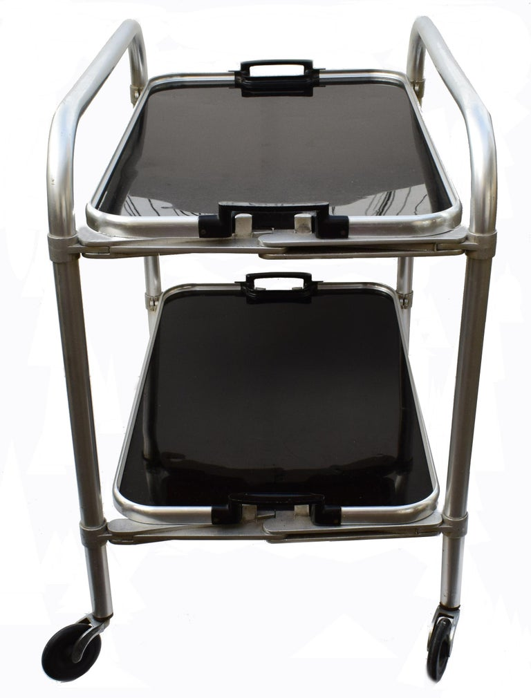 English Art Deco Two-Tier Aluminium Hostess Bar Cart, circa 1930 For Sale
