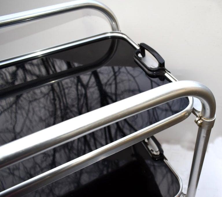 Aluminum Art Deco Two-Tier Aluminium Hostess Bar Cart, circa 1930 For Sale