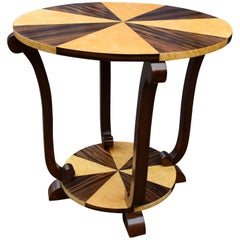 Art Deco Two-Tier French Centre Table in Walnut and Maple, circa 1930