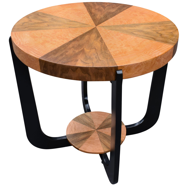 Art Deco Two-Tier Occasional Table in Walnut & Maple, circa 1930