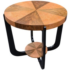 Art Deco Two-Tier Occasional Table in Walnut & Maple, circa 1930