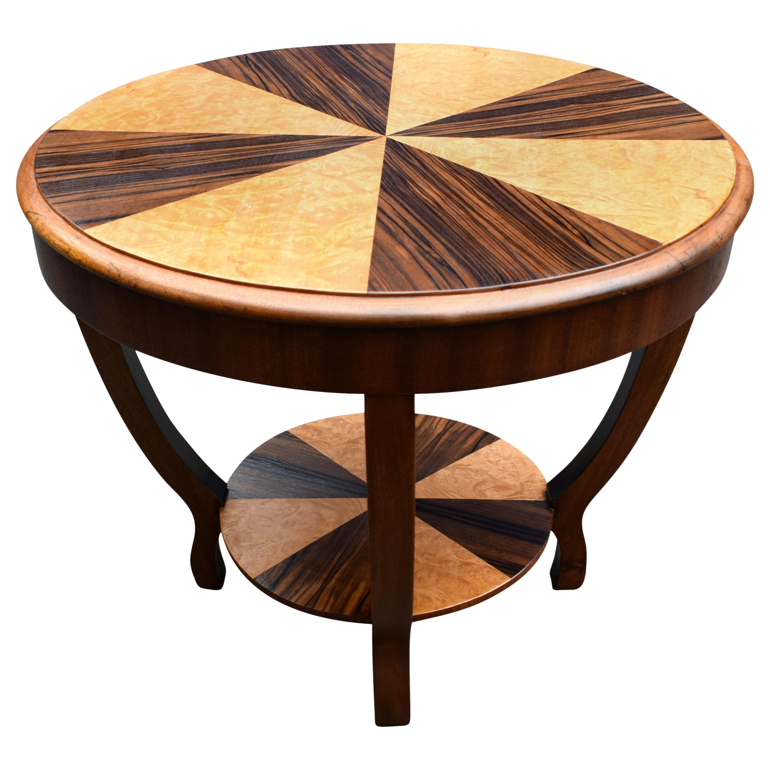 Art Deco Two-Tier Occasional Table in Walnut and Maple, circa 1930s