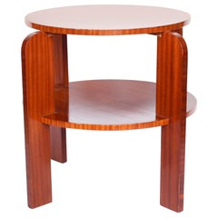 Art Deco Two-Tiered Solid Pine Side Table with Striped Mahogany, French, 1930s