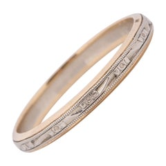 Art Deco Two-Tone 14K White and Yellow Gold Floral and Geometric Engraved Band