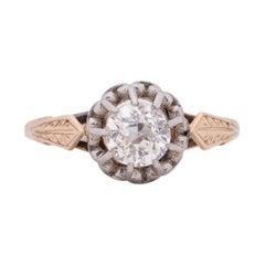 Art Deco Two Tone Vintage Old European Cut Solitaire Diamond Engagement Ring