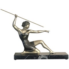 Art Deco Ugo Cipriani Uriano Diana the Huntress Bronze Sculpture