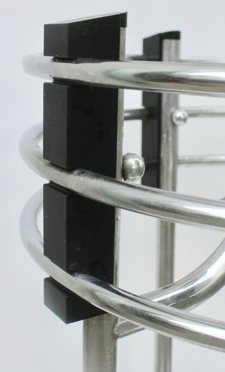 Mid-20th Century Art Deco Umbrella Planter Stand from a Movie Theatre Vintage Chrome and Bakelite For Sale