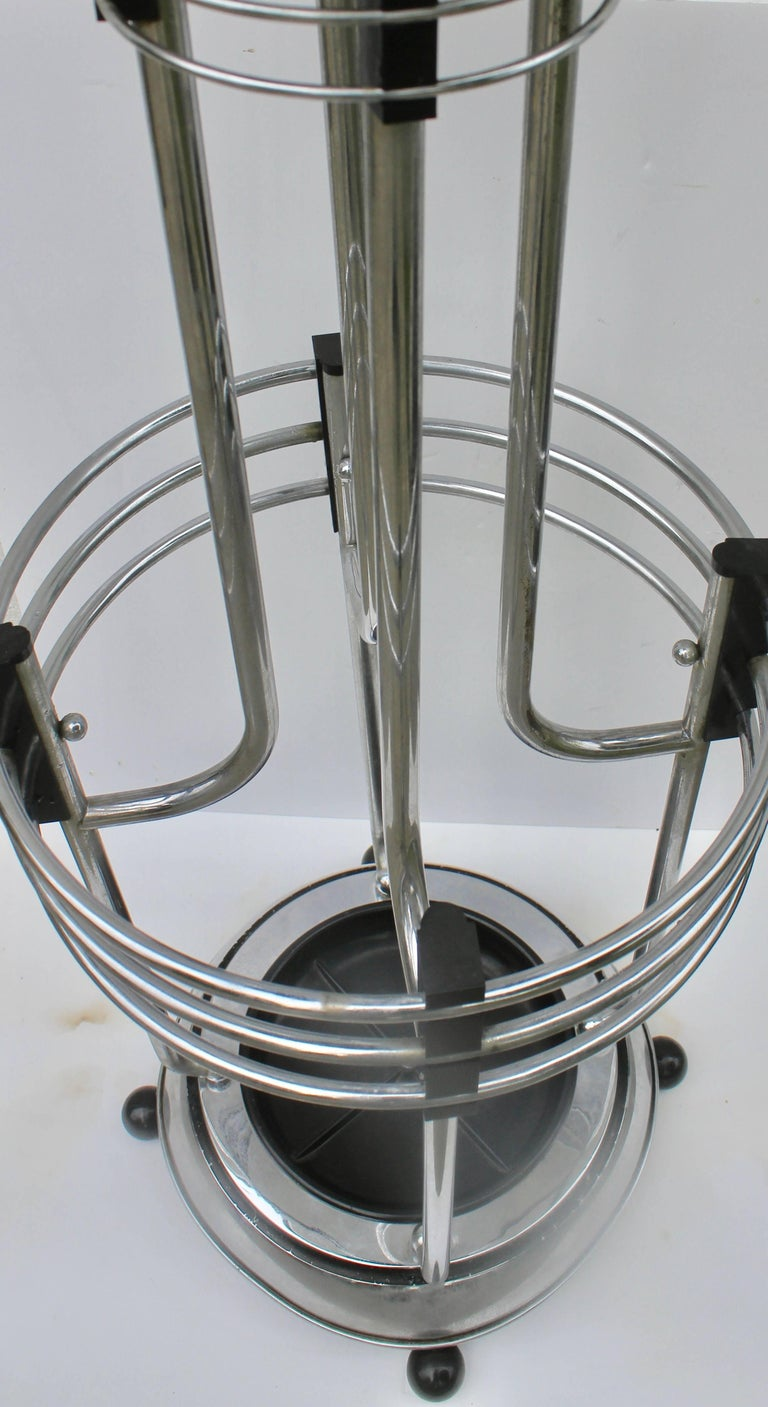 Art Deco Umbrella Planter Stand from a Movie Theatre Vintage Chrome and Bakelite For Sale 1