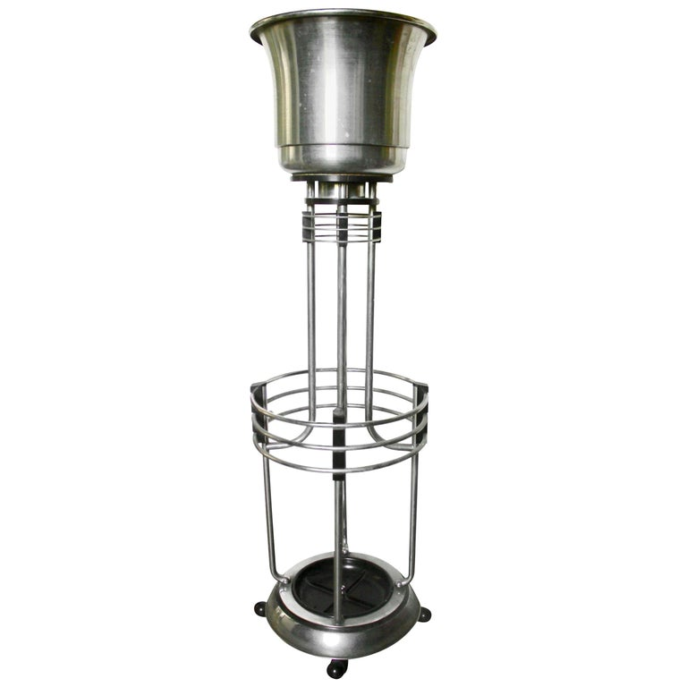 Art Deco Umbrella Planter Stand from a Movie Theatre Vintage Chrome and Bakelite For Sale
