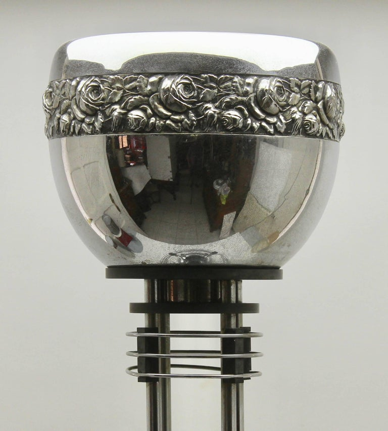Belgian Art Deco Umbrella stand / Jardinière in Chrome and Bakelite by Demeyere, 1931 For Sale