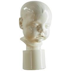 Art Deco Unique Porcelain Bust of Child, 1930s