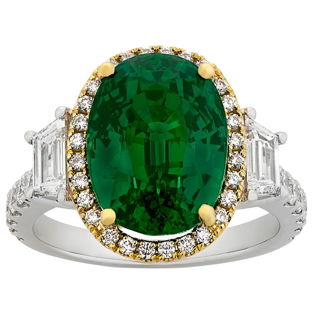 Art Deco Untreated Tsavorite Garnet Ring, 7.88 Carat