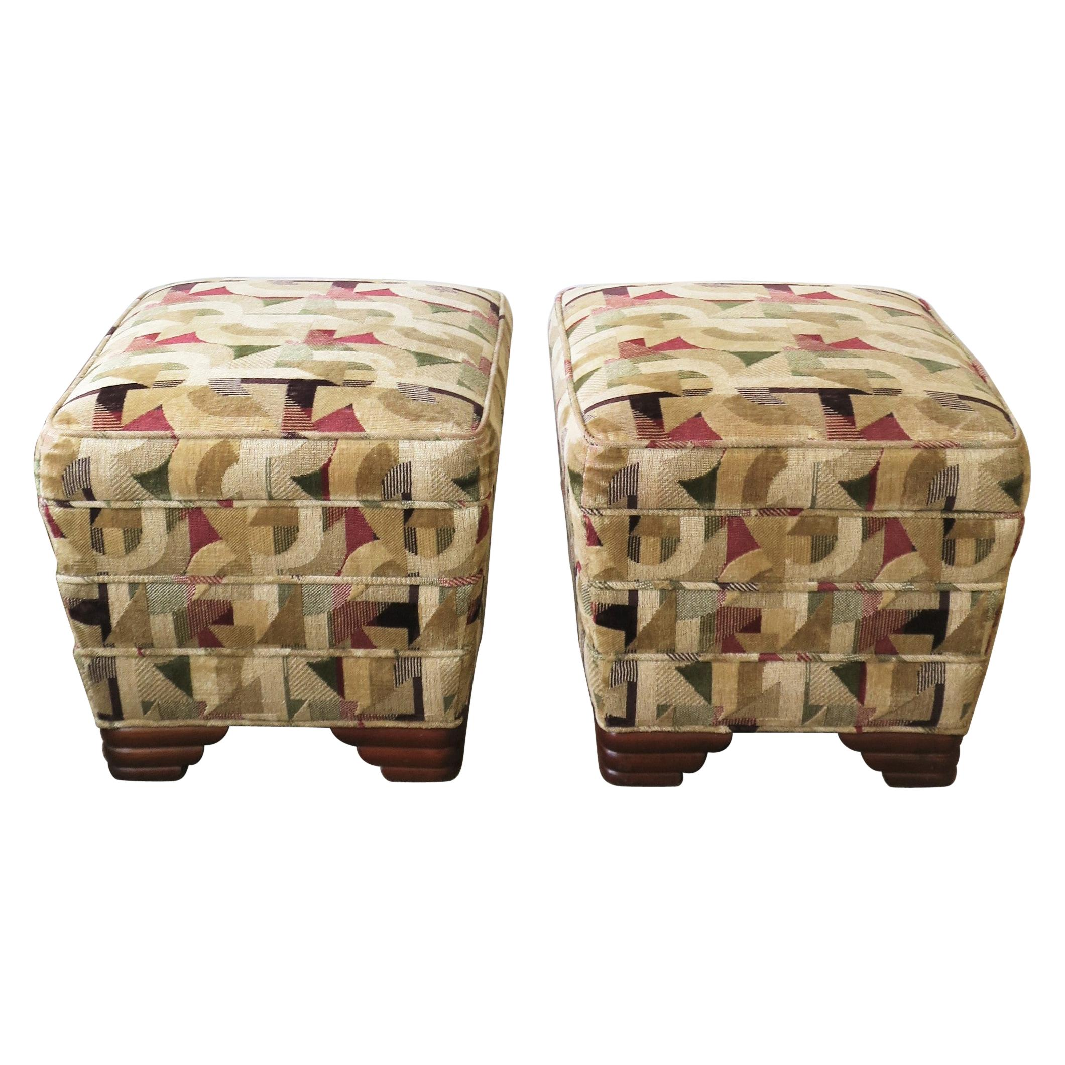 Art Deco Upholstered Stools or Benches, Pair