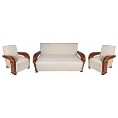 Art Deco Upholstered Teak Suite Comprised of Loveseat and Pair of Chairs