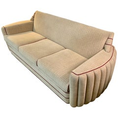 Art Deco Upholstered Three-Seat Sofa