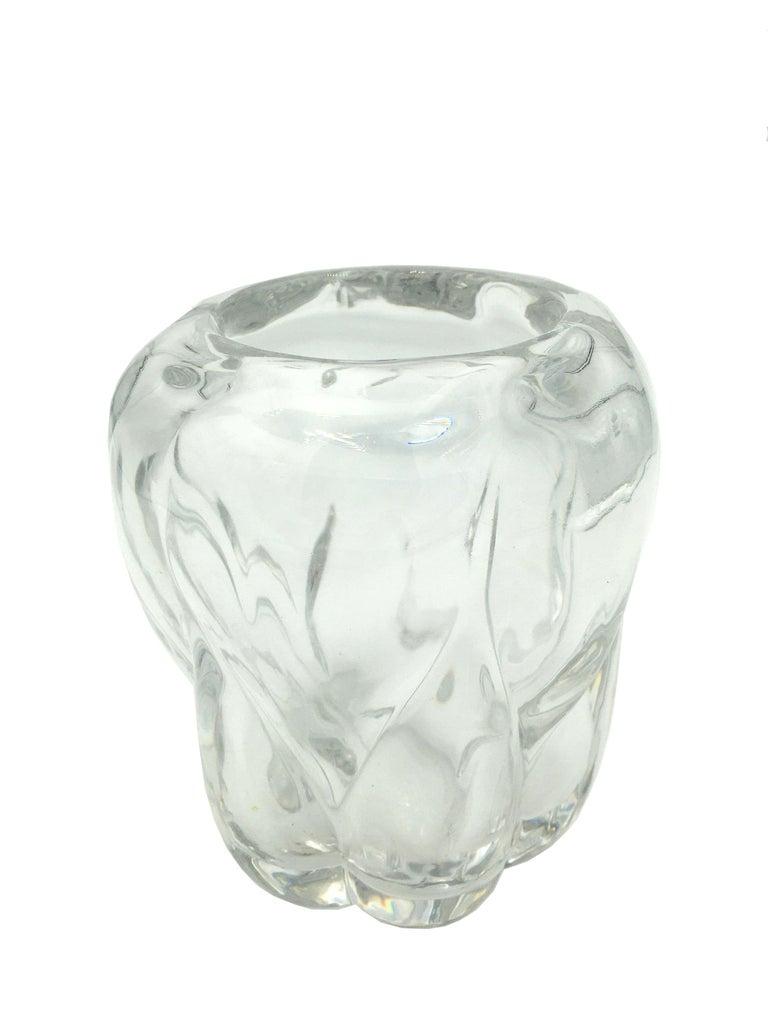 Belgian Art Deco Val Saint Lambert Crystal Vase, circa 1930 For Sale