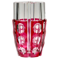 Art Deco Val Saint Lambert Crystal Vase Cut to Clear, Signed