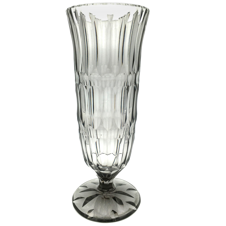 Art Deco Val Saint Lambert Grey Cut Crystal