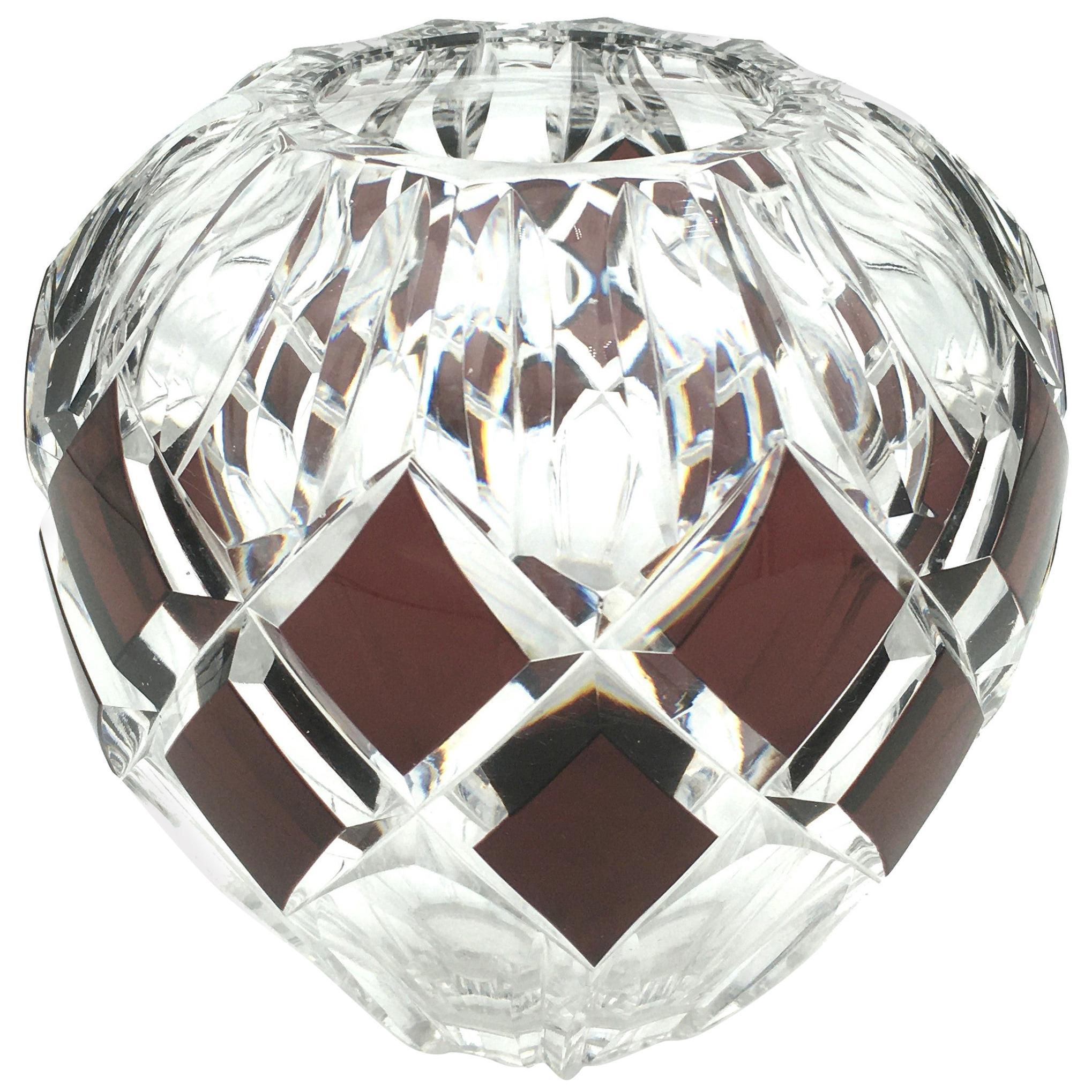 Art Deco Val Saint Lambert Handcut Crystal Vase with Purple Rhombus, 1930