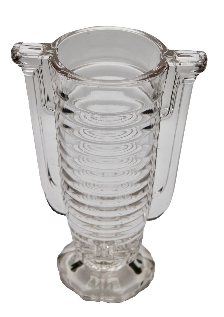 Val Saint Lambert in their Luxval series, in the 1930s. The vase is marked on the inside: