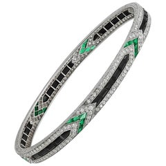 Art Deco Van Cleef & Arpels Diamond Emerald Onyx Bangle