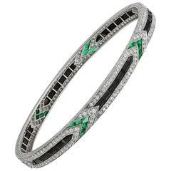 Art Deco Van Cleef & Arpels Diamond Emerald Onyx Bangle