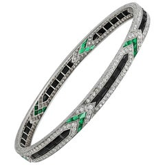 Van Cleef & Arpels Diamond Emerald Onyx Platinum Art Deco Bangle Bracelet