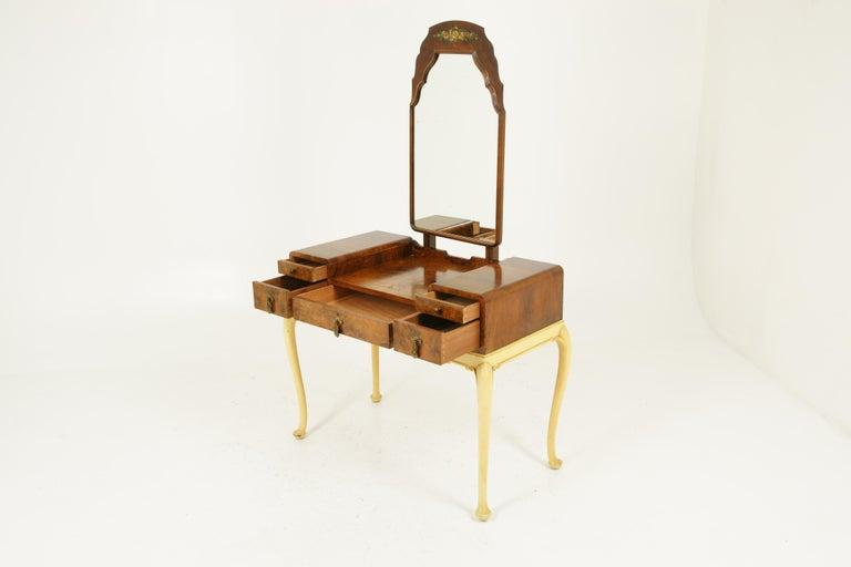 Art Deco Vanity, Matching Stool, Burr Walnut, Hand Painted, Scotland 1930 B1771C For Sale 4