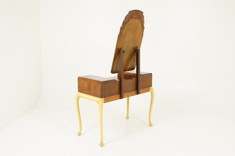 Art Deco Vanity, Matching Stool, Burr Walnut, Hand Painted, Scotland 1930 B1771C For Sale 6