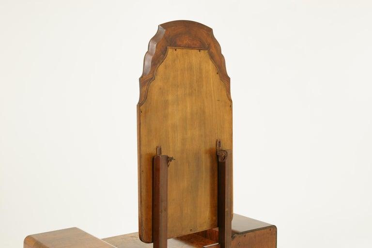 Art Deco Vanity, Matching Stool, Burr Walnut, Hand Painted, Scotland 1930 B1771C For Sale 7
