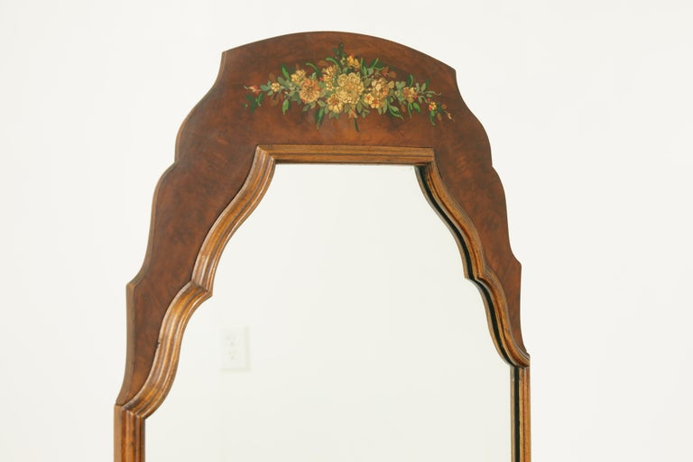 Art Deco Vanity, Matching Stool, Burr Walnut, Hand Painted, Scotland 1930 B1771C In Good Condition For Sale In Vancouver, BC