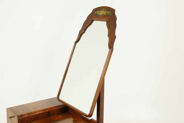 Art Deco Vanity, Matching Stool, Burr Walnut, Hand Painted, Scotland 1930 B1771C For Sale 1