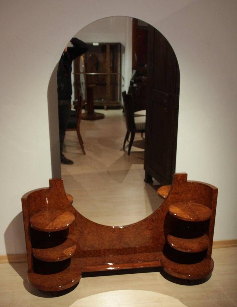 Art Deco Vanity Table, Amboyna Roots, France, circa 1925.  Very rare, original Art Deco Vanity Table /